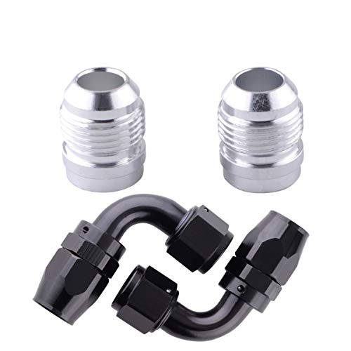 10AN Male Threads Weld Bung Fitting Hose Adapter,10AN Swivel Fuel Line End 90 Degree, 4Pcs Aluminum AN Hose Connectors Set, Great for Fuel Tank, Oil Cooler, Valve Covers Aluminum Adapter Weld Fitting