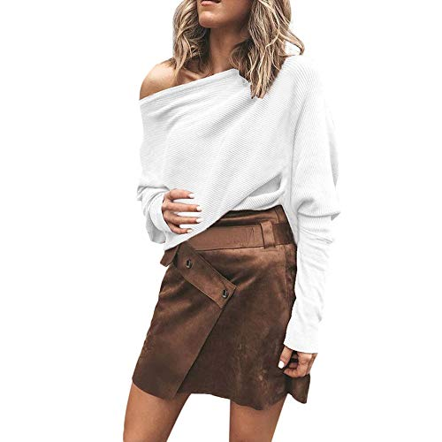 Sunyastor Popular Casual Off Shoulder Knit Pullover Long Sleeve Strapless Elegant Sweatshirt Top Blouse ()