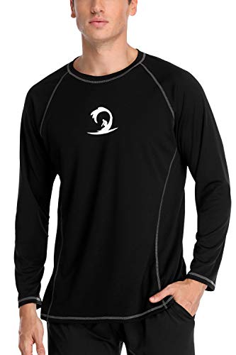 Charmo Men's Rash Guard Long Sleeve UV Sun Shirts Loose Fit UPF 50 Swim Shirt