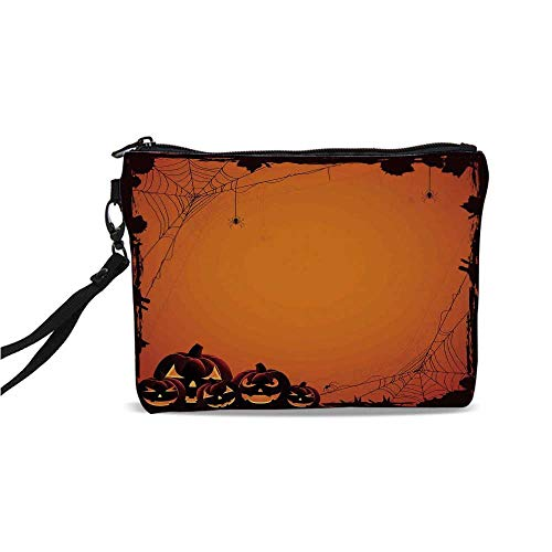 (Halloween Decorations Simple Cosmetic Bag,Grunge Spider Web Pumpkins Horror Time of Year Trick or Treat for Women,9