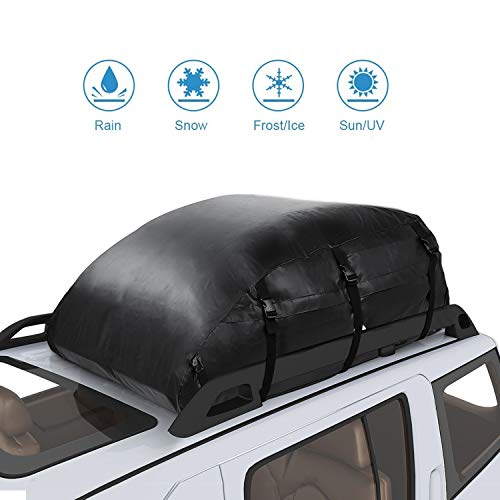 Waterproof PVC Vehicle Soft-Shell Carriers Car Roof Bag Cargo Storage Rooftop Luggage for Any Car Van or SUV/with Straps(20 Cubic Feet)