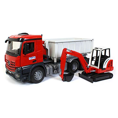 Bruder Toys Mb Arocs Truck with Roll-Off- Container and Schaeff Mini Excavator