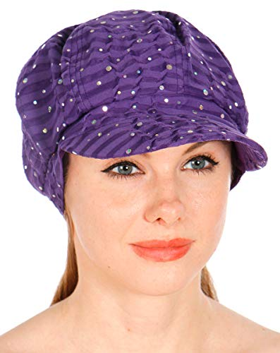 Sequin Newsboy Hat Cap - Sequin newboy Cabbie hat with Visor, for Women, Summer Gatsby Cap, Chemo hat Purple