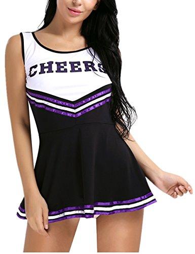 Freebily Women's High School Girls Musical Cheer Leader Uniform Halloween Fancy Dress Costume Black Small(27.0-41.0