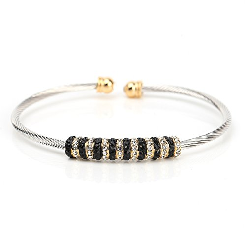 Exquisite Two Tone Designer Bangle Bracelet with Jet Black & Clear Swarovski Style - Swarovski Bracelet Crystal Black Jet