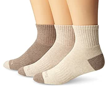 Timberland Mens 3 Pair Quarter Socks, Assorted, One Size(Shoe size 9-12)