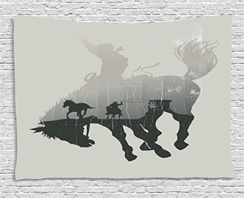 (Ambesonne Apartment Decor Tapestry by, Western Theme A Cowboy Chasing Wild Horse in Desert on a Rodeo Cowboy, Wall Hanging for Bedroom Living Room Dorm, 80WX60L Inches, Dust and Black)