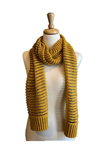 Ribbed Knit Fashion Scarves with Gold Thread Stitching, Shaw Scarf (Yellow) (Thread Universal)