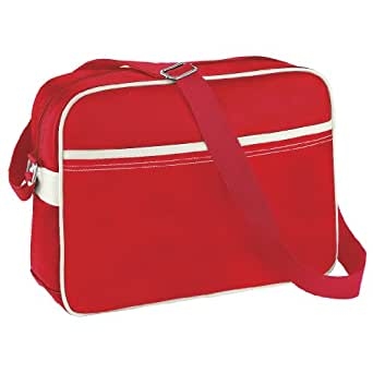 BagBase Original Airline Messenger Bag (12 Litres) (Pack of 2) (UK Size: One Size) (Bright Red/Off White)