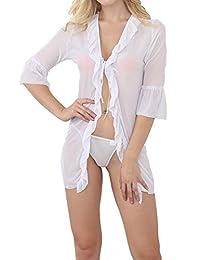 Blidece Women Sheer Night Shirt Pajamas Sexy Lingerie Sets with Bra G String