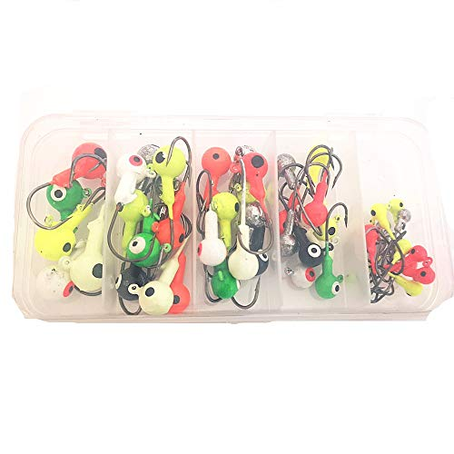 Z&S 50 Pack Glow Jig Hooks with Single Hooks Mixed Color Lead Head Fishing Jig Hooks for Soft Worm Shrimp Lures Fishing Tackle Kit 1g 3.5g 5g 7g 10g (Mixed 5 Weights_50pcs/Box)