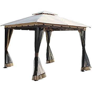 Amazon Com 10 X 10 Metal Gazebo With Double Roof And