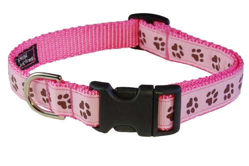 Sassy Dog Wear 10-14-Inch Pink/Brown Puppy Paws Dog Collar, Small