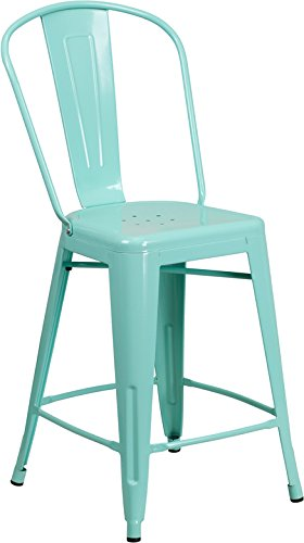 Emma + Oliver 24'' H Mint Green Metal Indoor-Outdoor Counter Stool w/Back by Emma + Oliver