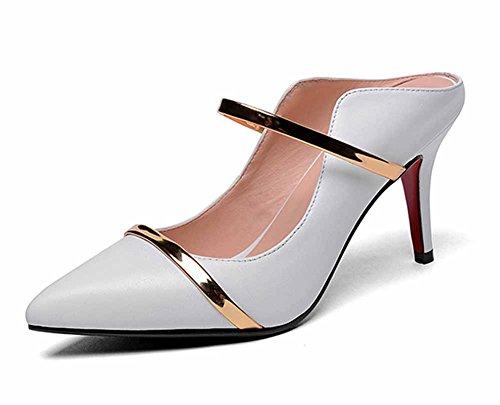 SHINIK sandalias acentuadas de las mujeres 2018 nuevas zapatillas de cuero de las mulas del verano cubren con estilo las bombas Blanco