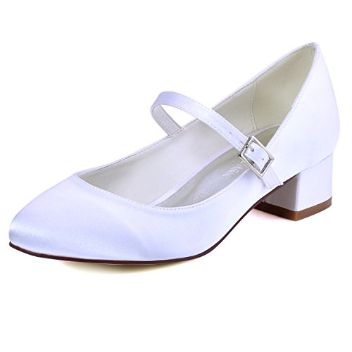 ElegantPark FC1614 Women Closed Toe Chunky Heel Mary Jane Pumps Satin Evening Wedding Dress Shoes White US 6