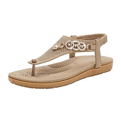 Fastbot Women's Summer Sandals Open Toe Casual Comfort Fashion Beach Rhinestones Roman able Sandas Beige ()
