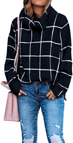 KIRUNDO 2021 Winter Women's Turtleneck Knit Sweater Long Sleeves Pullover Plaid Side Split Checked Outwear Loose Fit Tops