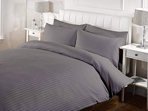 (Kotton Culture Duvet Cover Striped 100% Egyptian Cotton 600 Thread Count with Zipper Closure & Corner Ties Premium Comforter Cover Soft & Smooth (California King/King, Silver))