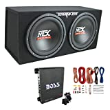 MTX TNE212D 12-Inch 1200W Dual Loaded Subwoofer Box + Amplifier & Wiring