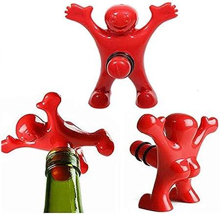 Feliz Hombre Abridor Botella,Biluer Botella de Cerveza Opener Botella De Vino Sacacorchos Set de Regalo For Plug Feliz Divertido del Individuo Regalo Abrebotellas (rojo)