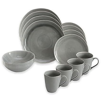 Amazon.com   Baum Current 16-Piece Dinnerware Set in Grey ...