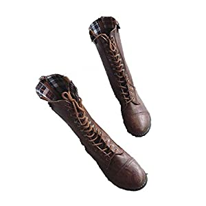 Mqushahej Mid-Calf Boots Pointed Toe Motorcycle Boots Mid-Calf Boots Brown 5
