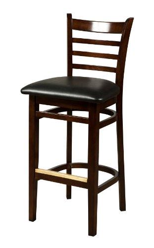 Frame Wood Black Vinyl Seat - Oak Street Manufacturing WB101WA-BLK Solid Walnut Wood Frame Ladderback Barstool with Black Vinyl Seat, 18
