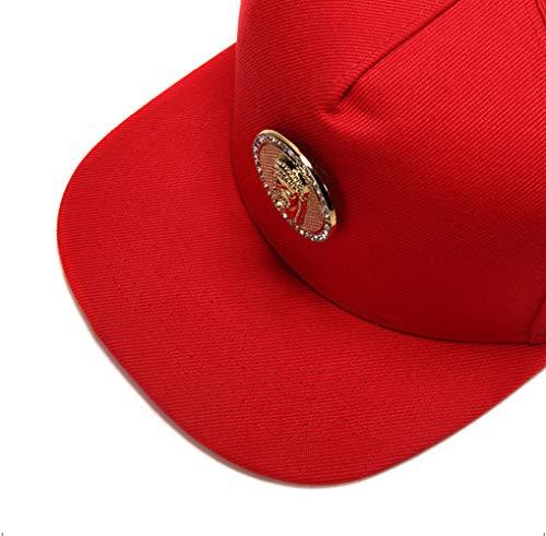 Rojo de del Hombre cuero cristal plateado sombrero de tachonado MCSAYS del oro PU de Snapback del algodón de la plano gorra HipHop ala Jesús de béisbol pxd7w4E