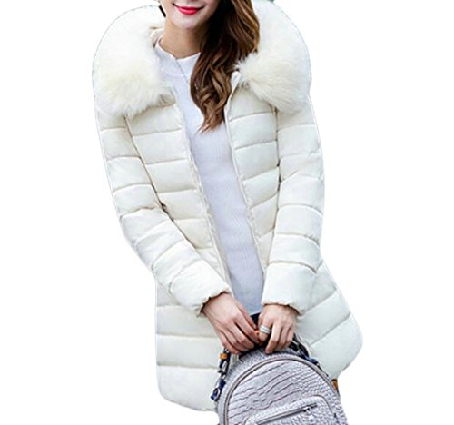 UUYUK-Women Winter Plus Size Solid Faux-Fur Trim Hoodies Down Coat Overcoat BGE US 4XL - Trim Hooded Down Coat