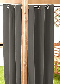 Outdoor Water Resistant Ready Made Eyelet Curtain Gazebo Summer House Pagoda - 55' x 72' Grey