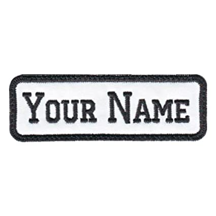 Rectangular 1 Line Custom Embroidered Name Tag Sew-On Patch (E)