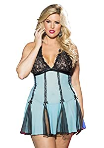 Shirley de Hollywood número 96389Queen tamaño Color turquesa/negro elástica de encaje y red–Picardías para mujer