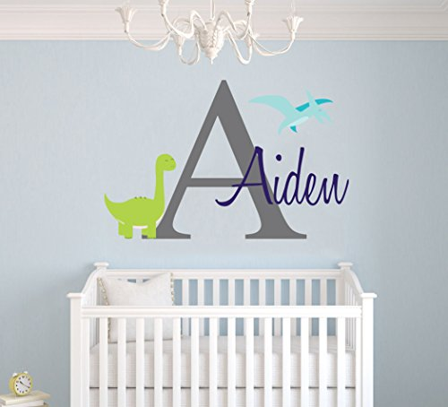 Custom Name & Initial Dinosaurs Animal Series - Baby Boy - Nursery Wall Decal For Baby Room Decorations - Mural Wall Decal Sticker For Home Children's Bedroom (MM103) (Wide 22