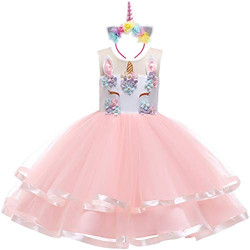 (Teen Big Girl Christmas Holiday Unicorn 2,3,4,5,6,7 Year Old Gift for Baby Toddler Princess Costume Party Winter Ballet Clothes S# White+Blush Pink(2pcs) 9-10)
