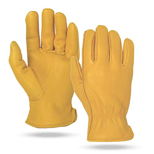 Illinois Glove Company 59MB Premium Heavy Duty Grain Elkskin Gloves M Gold Unlined, Premium Gold Grain Elkskin Leather Work Gloves, Keystone Thumb, Shirred Elastic Back