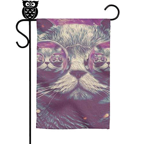 wudici Trippy Cat 2017-01 Home Garden Flag Yard Flag Summer Yard Outdoor Decorative 12x18 -