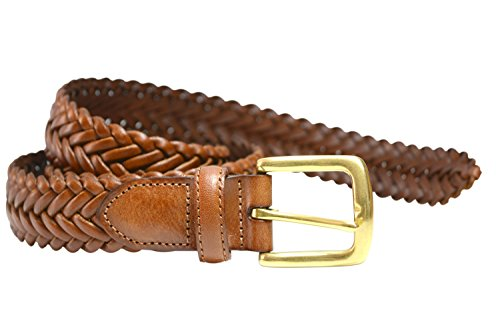 (796-TAN - Toneka Men's Woven Tan Caramel Full grain Braided Leather Dress Belt (50))