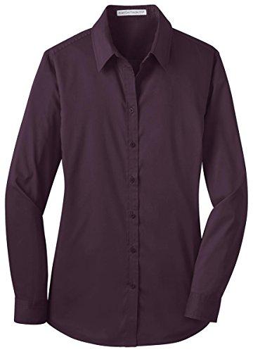Port Authority Ladies Stretch Poplin Shirt  Aubergine Purple  Large