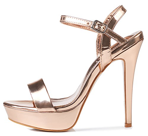 yooprettyz Ankle talón Champán vestido metálico Sandalia Strap llegada alta Sandal de Nueva Bomba correa xOxw6v0r