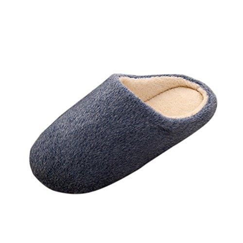 Remeehi - Zapatillas de estar por casa de Terciopelo para mujer azul oscuro