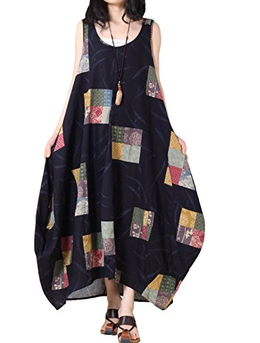 Voguees Women's Sleeveless Joint Floral Printed Vest Sundress Blue