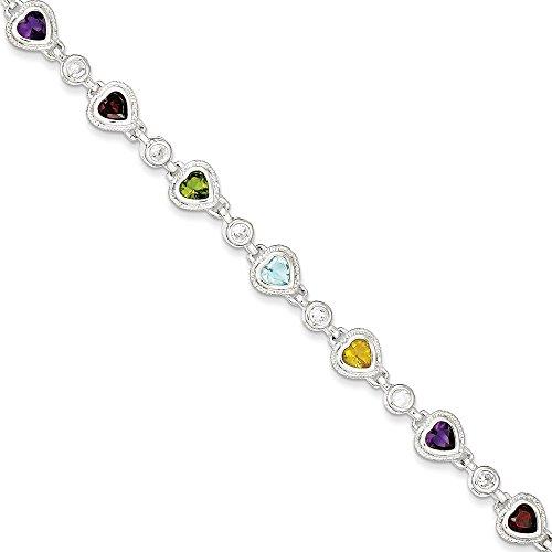 Argent Sterling CZ Bracelet arc-en-ciel fantaisie en forme de cœur 7 cm-Fermoir JewelryWeb -
