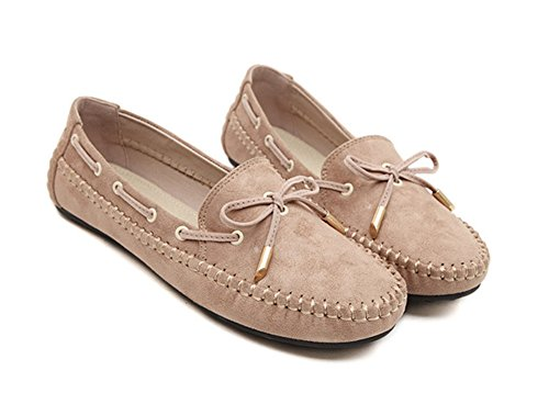 Aisun Womens Casual Sweet Bowknot Slip On Mocassini Albicocca