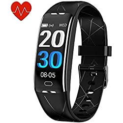 KEEPONFIT Fitness Tracker, Activity Tracker Watch with Heart Rate Monitor, IP68 Waterproof Pedometer Watch Smart Fitness Band with Step Counter for Kids Women and Men (Black)