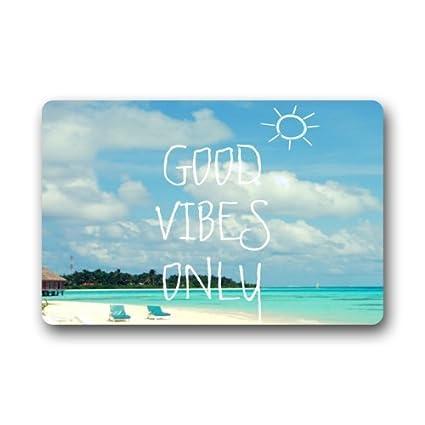 Blue Sea Beach With Funny Good Vibes Only Quotes Doormats Entrance Mat Floor Mat Door Mat Rug Indooroutdoorfront Doorbathroom Mats Rubber Non Slip