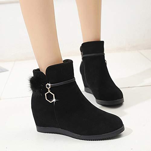 Negro Zapatos Gamuza Zapatillas Redonda Boots Botines Cabeza Para Mujer Pelo Punta Zipper De Pure Ante Cuña Con Color Bazhahei Botas Bola qffx1R