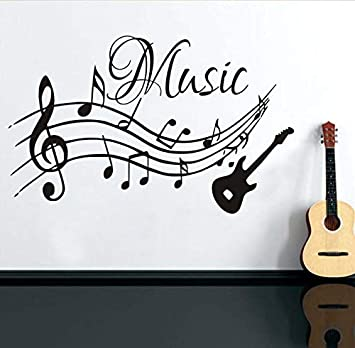 xlei Etiqueta De La Pared Notas Musicales Música Pegatinas De Pared PVC Extraíble Salón DIY Nursery Decoración para El Hogar Guitarra Tatuajes De Pared por ...