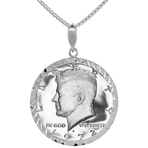 Sterling Silver Kennedy Half Dollar Coin Necklace Diamond Cut Bezel Prong Back ()