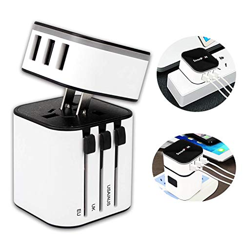 Travel Adapter SOONPAM Worldwide All in One International Power Adapter Universal Plug Wall Charger with 3 USB Charging…